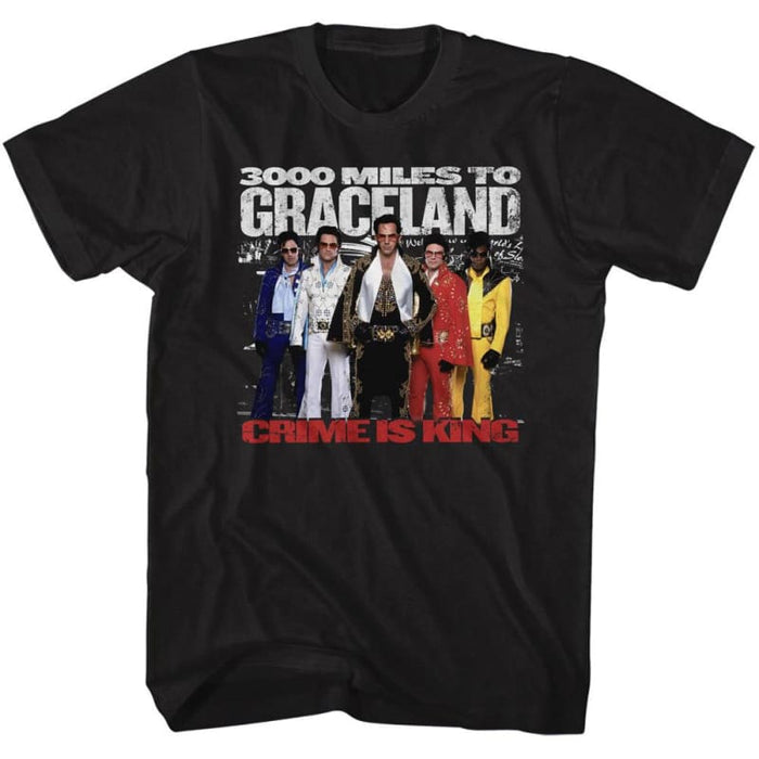 3000 MILES TO GRACELAND-THE ELVIS 5-BLACK ADULT S/S TSHIRT