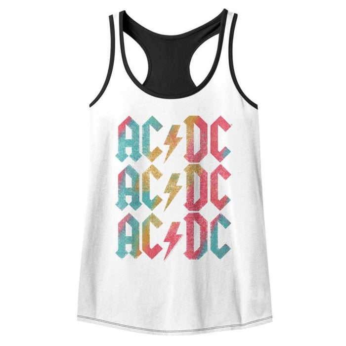 ACDC-BACK IN COLOR-WHITE/BLACK LADIES - COLOR BLOCK RACERBACK