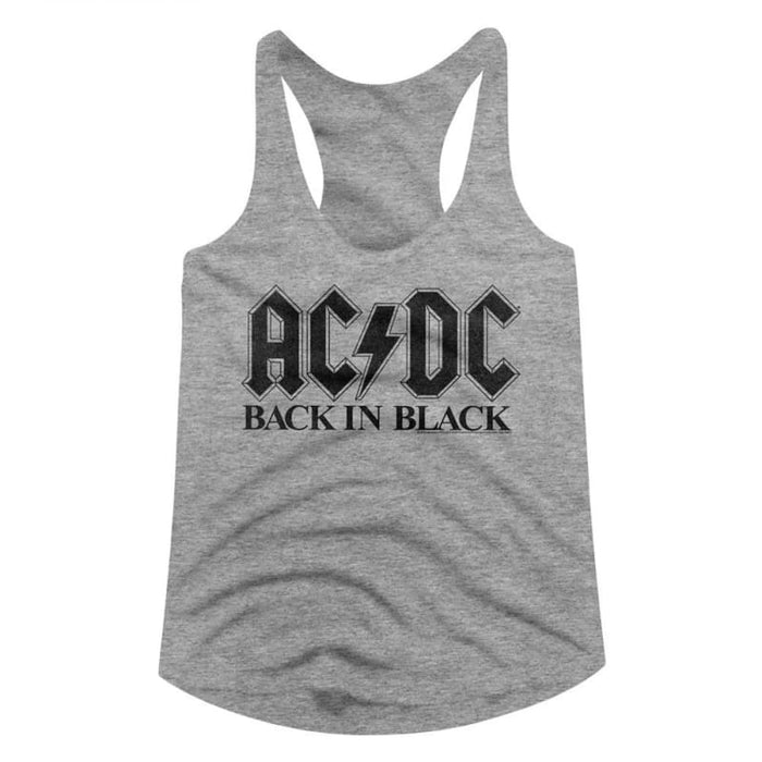 ACDC-BIB IN BLACK-GRAY HEATHER LADIES RACERBACK