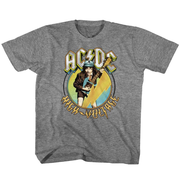 ACDC-BLUE YELLOW VOLTAGE-GRAPHITE HEATHER TODDLER S/S TSHIRT