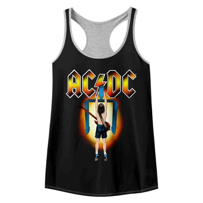 ACDC-FLICK OF THE SWITCH-BLACK/GRAY HEATHER LADIES - COLOR BLOCK RACERBACK