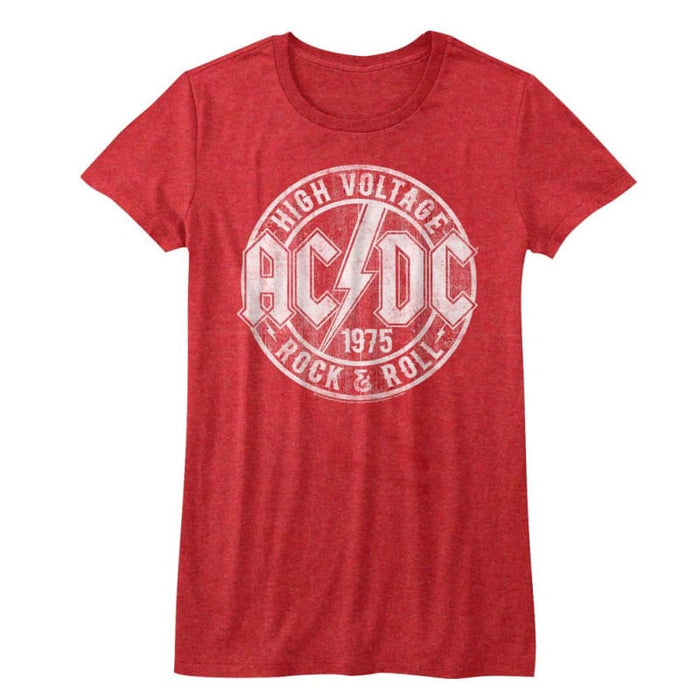 ACDC-R&R-RED HEATHER JUNIORS S/S TSHIRT
