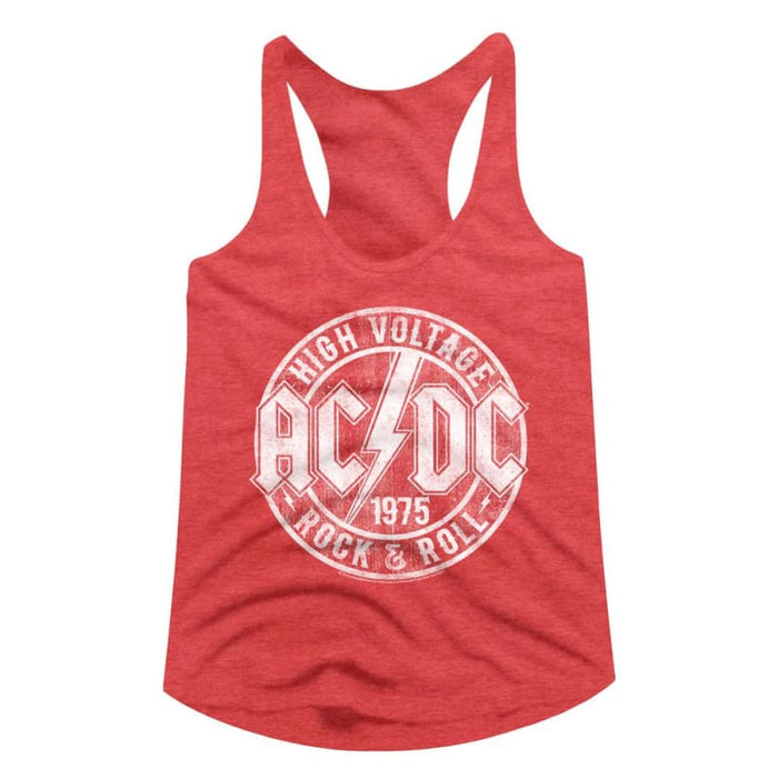 ACDC-R&R-RED HEATHER LADIES RACERBACK