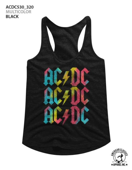 ACDCULTICOLOR-BLACK LADIES RACERBACK