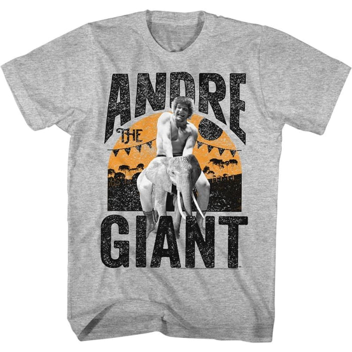 ANDRE THE GIANT-ELEPHANT RIDE-GRAY HEATHER ADULT S/S TSHIRT