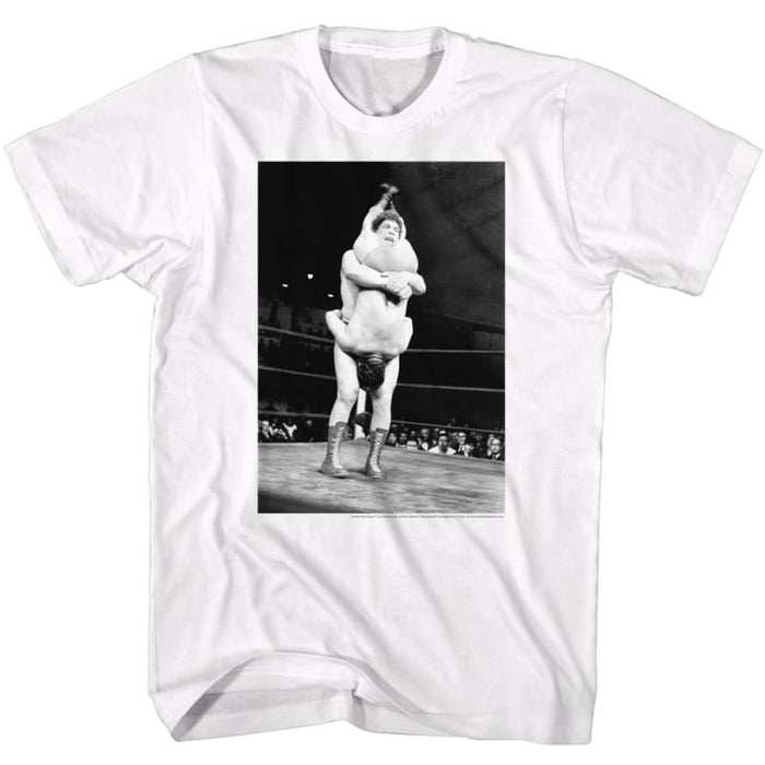 ANDRE THE GIANTHAKE DOWN-WHITE ADULT S/S TSHIRT
