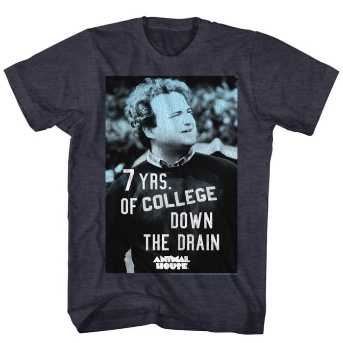 ANIMAL HOUSE-7YEARSDOWN-NAVY HEATHER ADULT S/S TSHIRT