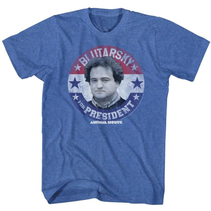 ANIMAL HOUSE-BLUTARSKY FOR PREZ-ROYAL HEATHER ADULT S/S TSHIRT