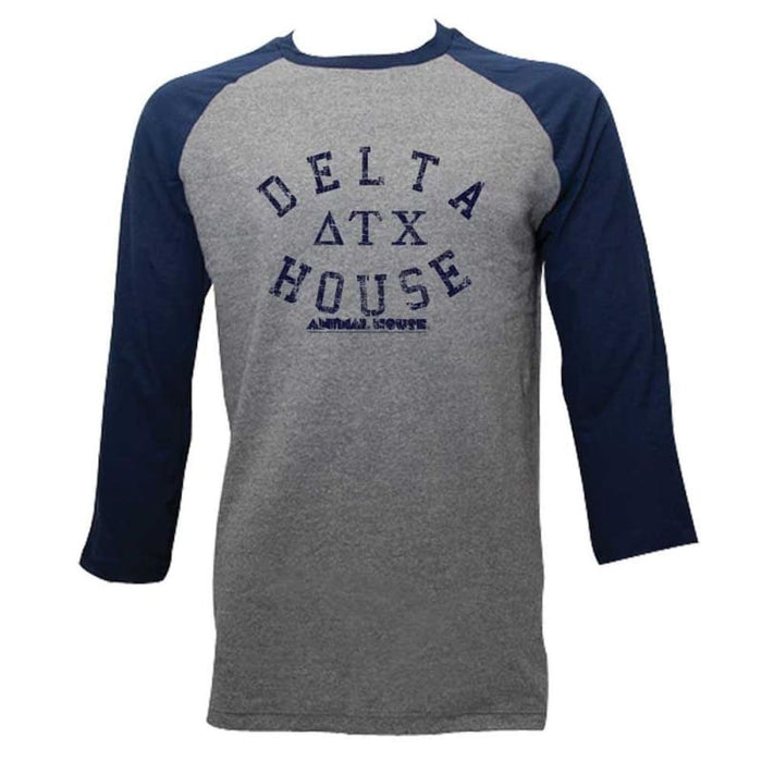 ANIMAL HOUSE-DELTA HOUSE-GRAY HEATHER/DARK NAVY ADULT 3/4 SLEEVE RAGLAN