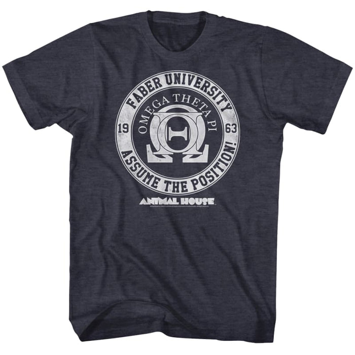 ANIMAL HOUSE-OMEGA THETA PI-NAVY HEATHER ADULT S/S TSHIRT
