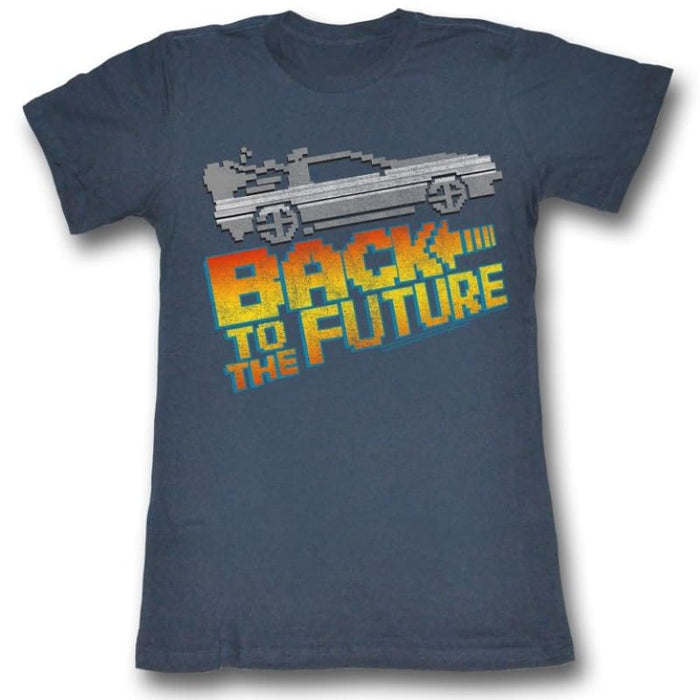 BACK TO THE FUTURE-8BIT TO THE FUTURE-NAVY JUNIORS S/S TSHIRT
