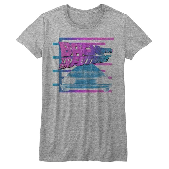 BACK TO THE FUTURE-BARRED FUTURE-GRAY HEATHER JUNIORS S/S TSHIRT