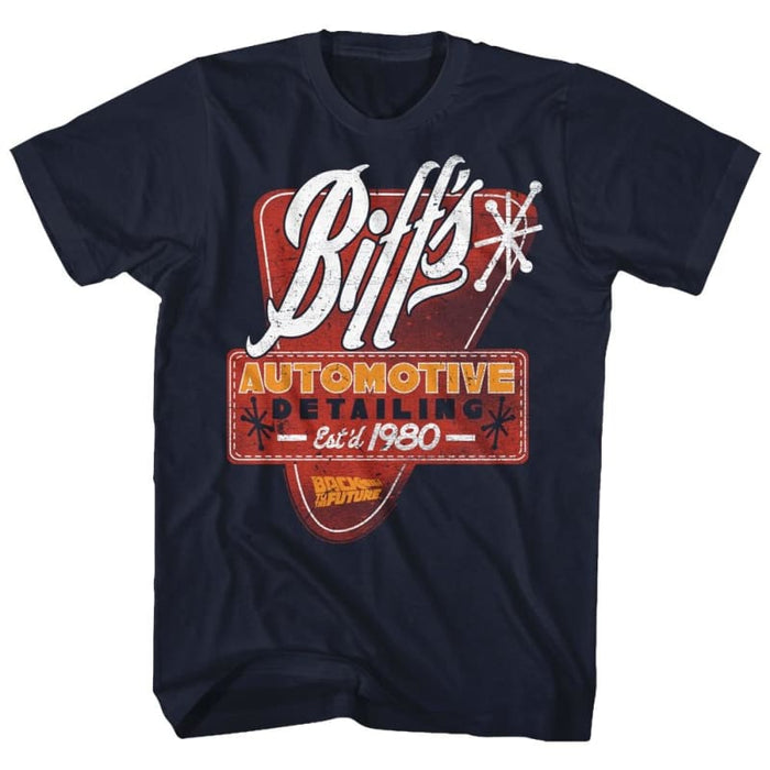 BACK TO THE FUTURE-BIFFS DETAIL-NAVY ADULT S/S TSHIRT