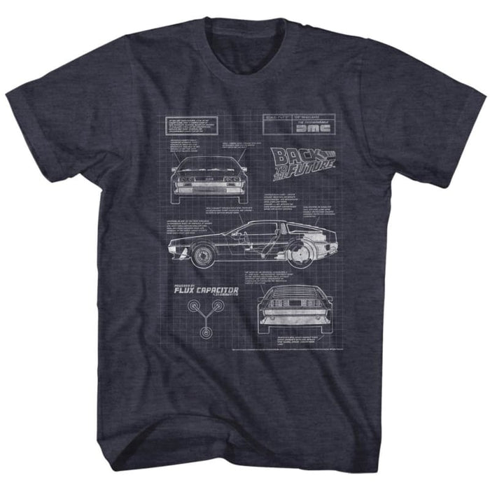 BACK TO THE FUTURE-BLUEPRINT 2-NAVY HEATHER ADULT S/S TSHIRT