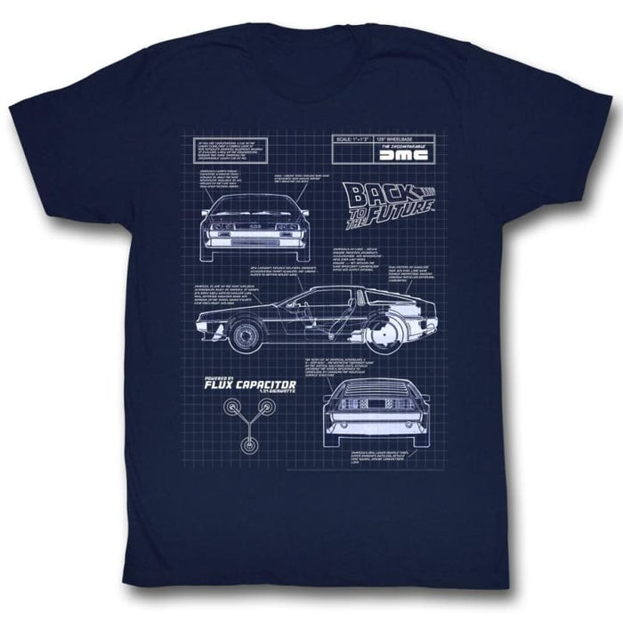 BACK TO THE FUTURE-BLUEPRINT-NAVY ADULT S/S TSHIRT