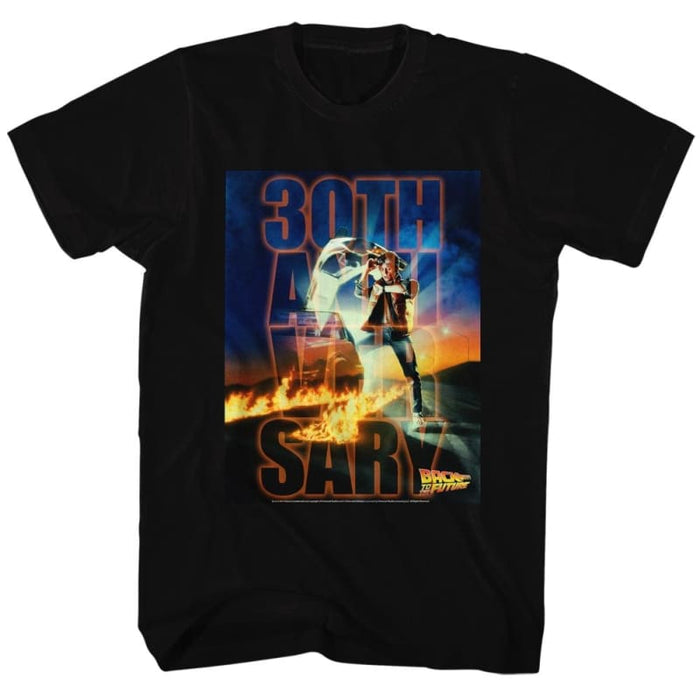 BACK TO THE FUTURE-BTF 30TH ANNIVERSARY-BLACK ADULT S/S TSHIRT