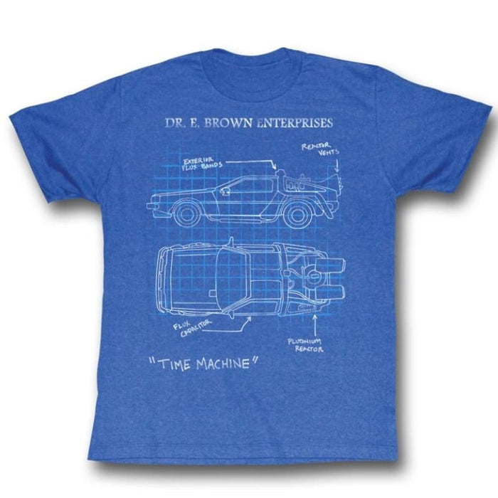 BACK TO THE FUTURE-DELOREAN SCHEMATIC-ROYAL HEATHER ADULT S/S TSHIRT