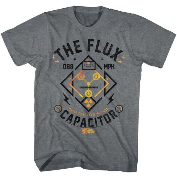 BACK TO THE FUTURE-FLUX STREETWEAR-GRAPHITE HEATHER ADULT S/S TSHIRT