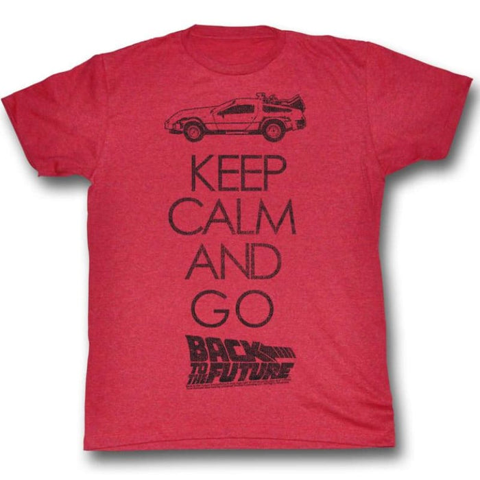 BACK TO THE FUTURE-KEEP CALM-CHERRY HEATHER ADULT S/S TSHIRT