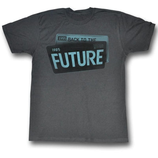 BACK TO THE FUTUREICENSE-BLACK HEATHER ADULT S/S TSHIRT