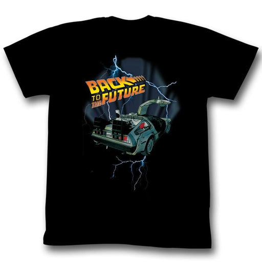 BACK TO THE FUTUREIGHTNING CAR-BLACK ADULT S/S TSHIRT