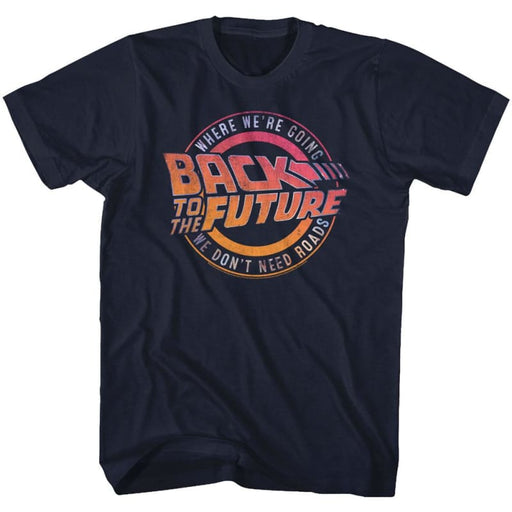 BACK TO THE FUTUREOGO&QUOTE-NAVY ADULT S/S TSHIRT