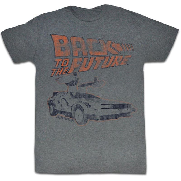 BACK TO THE FUTUREY OTHER CAR-GRAPHITE HEATHER ADULT S/S TSHIRT