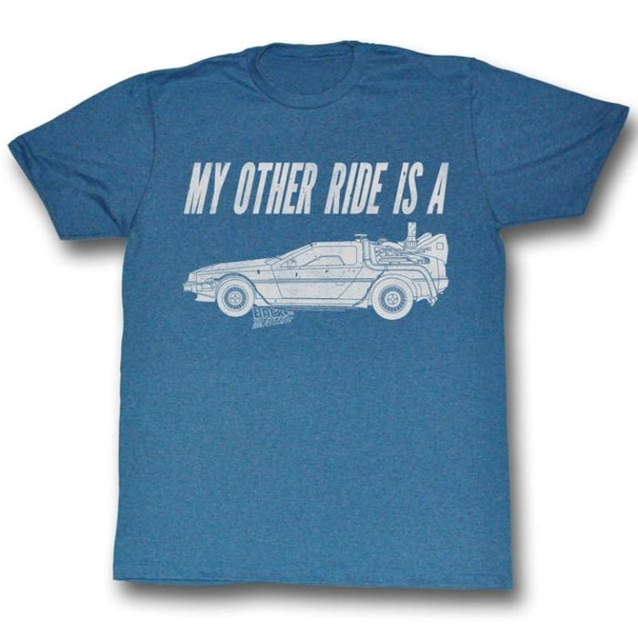 BACK TO THE FUTUREY OTHER RIDE-PACIFIC BLUE HEATHER ADULT S/S TSHIRT