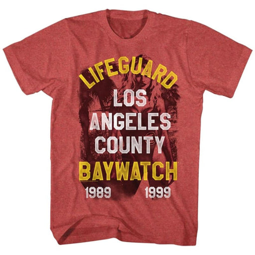 BAYWATCHIFEGUARD-RED HEATHER ADULT S/S TSHIRT