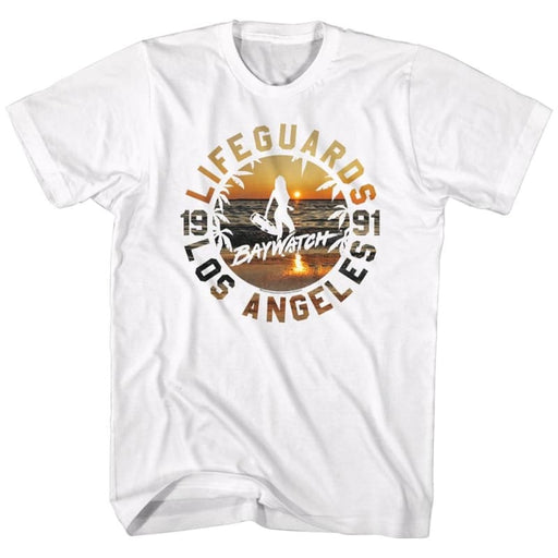 BAYWATCHIFEGUARDS SUNSET-WHITE ADULT S/S TSHIRT