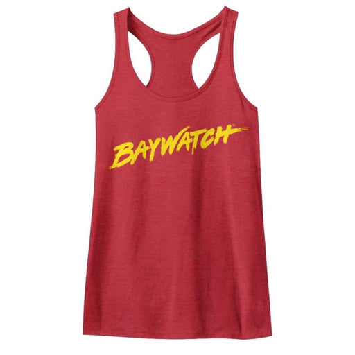 BAYWATCHOGO TANK-RED HEATHER LADIES RACERBACK