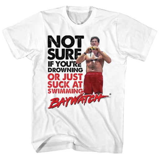 BAYWATCHUCKS AT SWIMMING-WHITE ADULT S/S TSHIRT