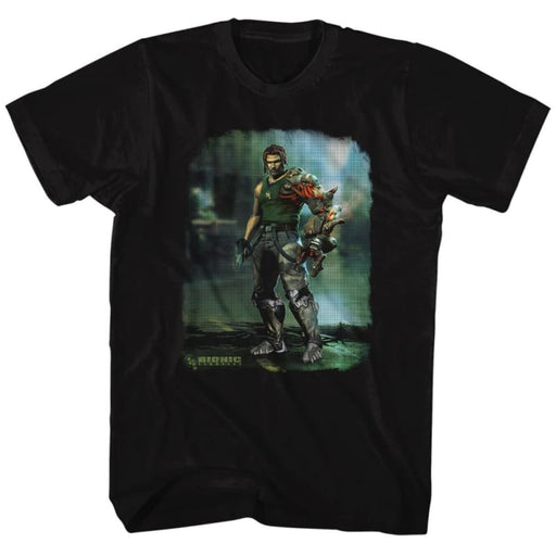 BIONIC COMMANDO-DAMAGED ROAD-BLACK ADULT S/S TSHIRT