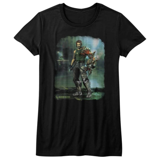 BIONIC COMMANDO-DAMAGED ROAD-BLACK JUNIORS S/S TSHIRT