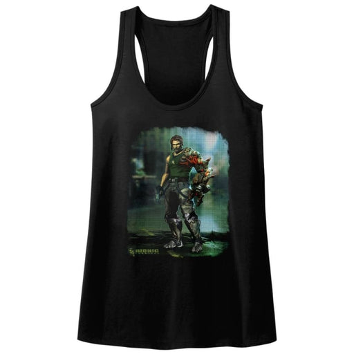BIONIC COMMANDO-DAMAGED ROAD-BLACK LADIES RACERBACK