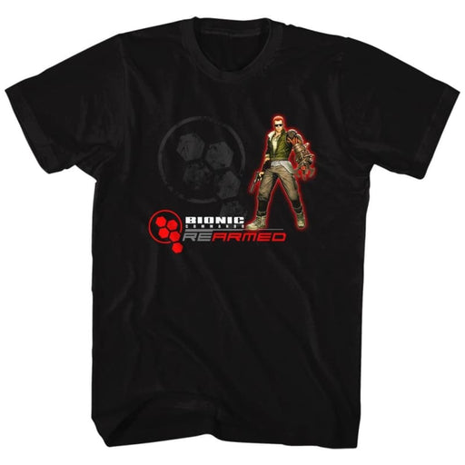 BIONIC COMMANDO-REARMED-BLACK ADULT S/S TSHIRT