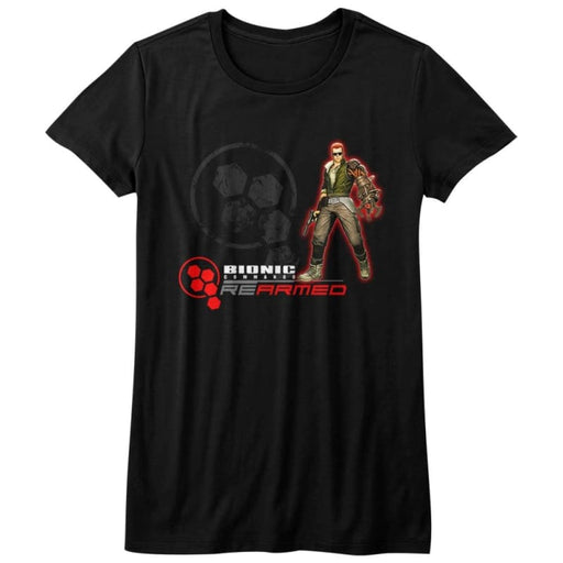 BIONIC COMMANDO-REARMED-BLACK JUNIORS S/S TSHIRT