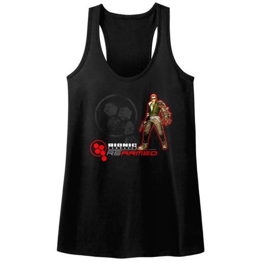 BIONIC COMMANDO-REARMED-BLACK LADIES RACERBACK