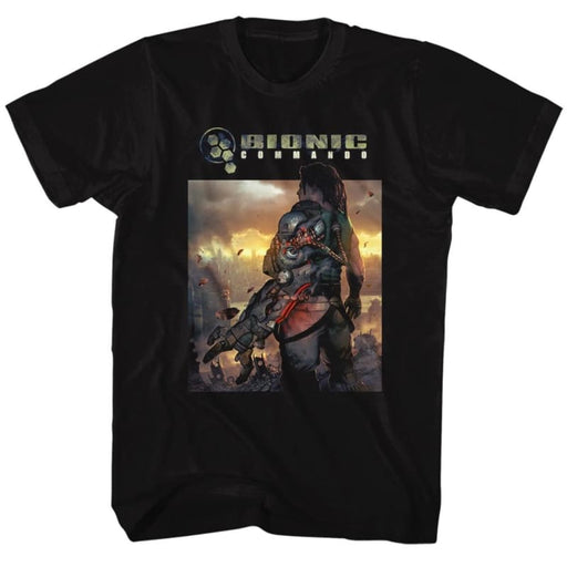 BIONIC COMMANDO-THE WORLD BURN-BLACK ADULT S/S TSHIRT