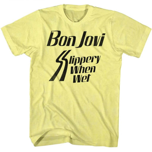 BON JOVILIPPERY WHEN-YELLOW HEATHER ADULT S/S TSHIRT