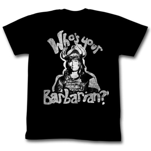 CONAN-WHOS YOUR BARBARIAN-BLACK ADULT S/S TSHIRT