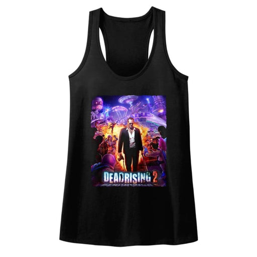 DEAD RISING-PURPLE ACTION-BLACK LADIES RACERBACK
