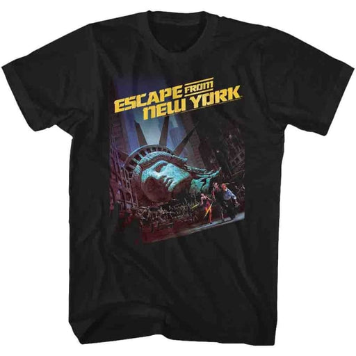 ESCAPE FROM NEW YORK-RUN POSTER 2-BLACK ADULT S/S TSHIRT