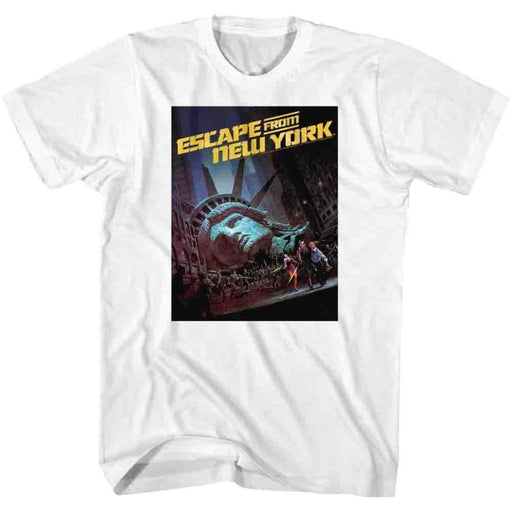 ESCAPE FROM NEW YORK-RUN POSTER-WHITE ADULT S/S TSHIRT