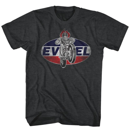 EVEL KNIEVELOGO2-BLACK HEATHER ADULT S/S TSHIRT