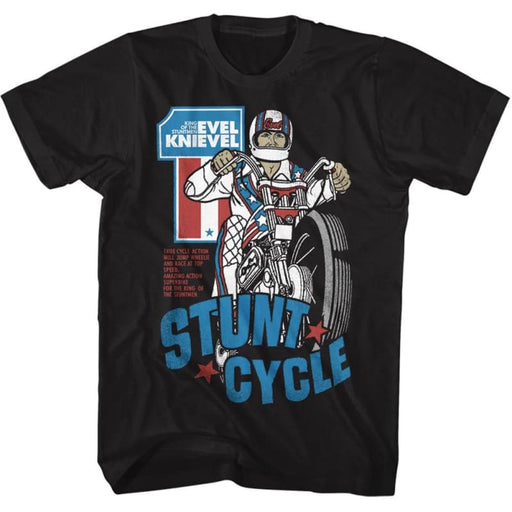 EVEL KNIEVELTUNT CYCLE 2-BLACK ADULT S/S TSHIRT