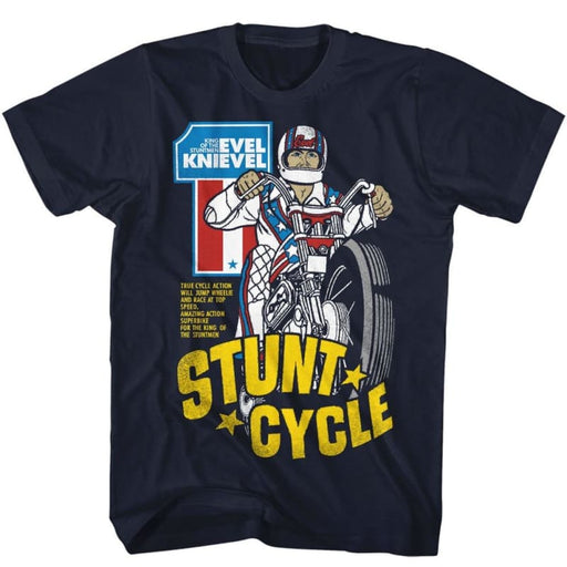 EVEL KNIEVELTUNT CYCLE-NAVY ADULT S/S TSHIRT