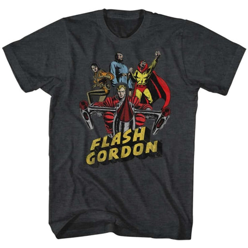FLASH GORDON-GREATEST ADVENTURE-BLACK HEATHER ADULT S/S TSHIRT