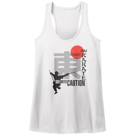 HAI KARATE-USE WITH CAUTION-WHITE LADIES RACERBACK