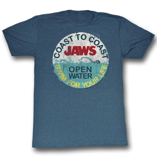 JAWSWIM FOR YOUR LIFE-NAVY HEATHER ADULT S/S TSHIRT